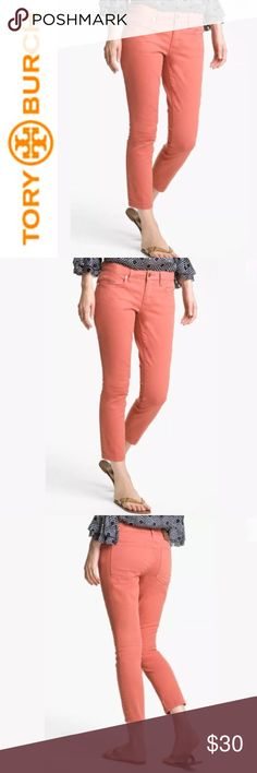 """Tory Burch Alexa Skinny Cropped Jeans ✔️Cropped Jean Inseam: 25.5"""" approx. ✔️Coral Color ✔️98% Cotton•2% Spandex ✔️No Holes, Stains or Damages: slight fading of color from normal washing Tory Burch Jeans Ankle & Cropped"""