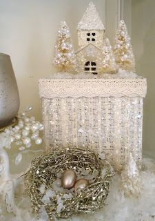 Tammy's Heart: My Pretty Christmas Cottage Christmas Town, Christmas Scenes, Christmas Villages, Pink Christmas, All Things Christmas, Vintage Christmas, Christmas Ornaments, Christmas Boxes, Christmas Items