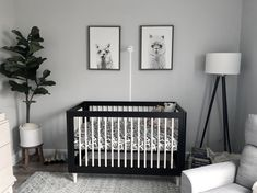 Baby Ben's gender neutral room Black Crib Nursery, Black White Nursery, White Furniture, Baby Decor, Gender Neutral, Baby Room, Cribs, Sweet Home, Rooms