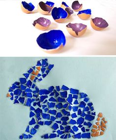 Clean the inside of the eggshells and color it. (If you remove the fine white skin, you can also use finger-paint.) When the color is dry you can break the shell in little pieces and glue them in the shape previously drew on a paper.