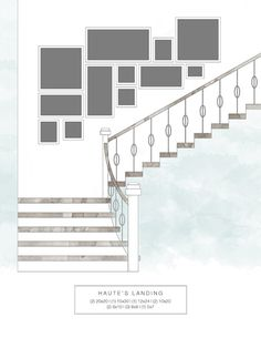 Photo Arrangement for stairs. (I have been fighting with a photo arrangement on my staircase. Town Country Haus, Home And Deco, Photo Displays, Stairways, Home Projects, Picture Frames, My House, Photo Wall, Picture Wall