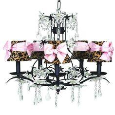 Cinderella Black Five-Light Chandelier with Leopard and Sash Chandelier Shades