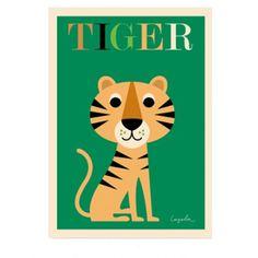 <p>Grande affiche d'un tigre, illustration par l'artiste suédoise Ingela P. Arrhenius, éditée par OMM Design. Pour égayer les murs de votre maison . On aime son dessin graphique et coloré et son regard coquin ! - deco-graphic.com