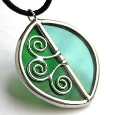Leaf  Spirals Stained glass pendant 1160 by LingGlass on Etsy, $28.00