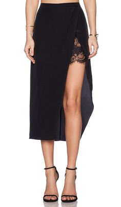 asymmetrical skirt with black lace