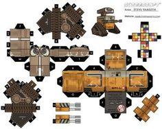 Recorte Cole o robô Wall - E e monte incriveis bonecos caixotinhos para crianças, monte sua coleção com nossos Recorte e cole o robô Wall - E