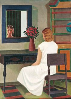 """A Girl in Front of Her Mirror,"" Veikko Vionoja (Finnish, 1909-2001), Oil on canvas, 90 x 65 cm., 1971"