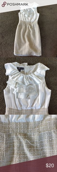 White ruffle dress Great work dress! Ruffle top with woven bottom. Small pull in the fiber (as shown in picture) Dresses Midi
