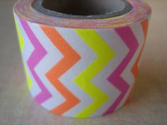 Washi Tape - Single Roll - Tri-Color Chevron Print - Neon Pink, Yellow and Orange