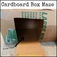 """Cardboard Box Maze and Play Tunnel. This is a great resource at hardly any cost.Chat to your child using language such as """"under, over, in ,on,out, through,up,and down""""."""