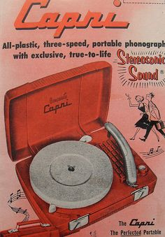 1950s CAPRI RECORD PLAYER TURNTABLE Vintage Advertisement Illustration by Christian Montone, via Flickr