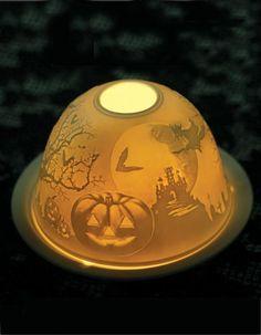 EERIE TEALIGHT LITHOPHANE - Halloween Porcelain Votive