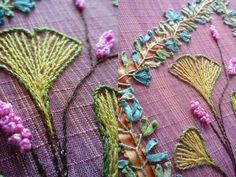 Beautiful ginkgo in stitches and ribbon embroidery.