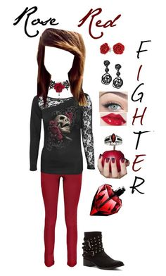 """Rose Red Fighter <3"" by lil1daffodil2baby3girl4 ❤ liked on Polyvore"