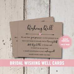 Wedding Wishing Well Card Printable Bridal Shower Insert Instant Download