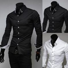 Casual Striped Lining Slim Dress Shirts Black And White Man, Casual Formal Dresses, Moda Fashion, New Mens Fashion, Slim Man, Formal Shirts, Chef Jackets, Collared Shirts, Long Sleeve Shirts