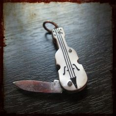 Antique Violin French Pocket Knife Pendant - Vintage Music Instrument Jewelry Souvenir from France