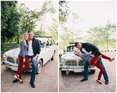 anniversary shoot, vintage car, leather jacket, red jeans