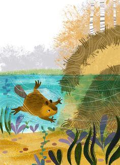 Beaver by Anna Chernyshova Art And Illustration, Beaver Drawing, Whimsical Art, Cute Art, Concept Art, Kawaii, Beavers, Fantasy, Drawings