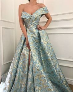 Details - Mystic blue color - Embroidery Taft fabric - Ball-gown style - Party and Evening dress Ball Dresses, Ball Gowns, Evening Dresses, Prom Dresses, Silk Evening Gown, Designer Evening Gowns, Midi Dresses, Summer Dresses, Elegant Dresses
