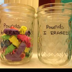 Weight loss tracking jar..different from the usual marble :)