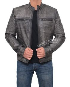 Distressed Leather Jacket : The distress grey leather jacket is an ideal pick for a sharp casual look Brown Leather Jacket Men, Distressed Leather Jacket, Best Leather Jackets, Lambskin Leather Jacket, Vintage Leather Jacket, Biker Leather, Leather Men, Real Leather, Black Leather