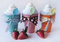 Ice cream cones- cute for shower decor and take home gift- fill with diaper or onsie