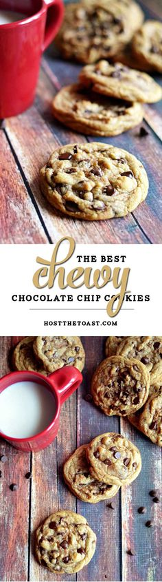 The Best Chewy Café-Style Chocolate Chip Cookies.  These are so soft and chewy-- definitely the best chocolate chip cookie I\'ve ever had!  | hostthetoast.com 15 min
