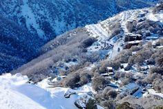 Snow ski resort in Australia. Beautiful alpine mountains at Falls Creek, Victoria #snowaus