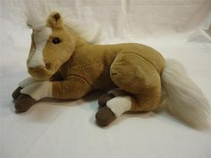 CARSTENS PALOMINO PLUSH HORSE COLT PILLOW Lying Down Tan White Mane Stuffed Toy
