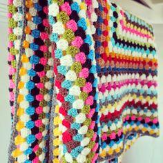 ByHaafner, crochet, giant granny square, bright colours, throw