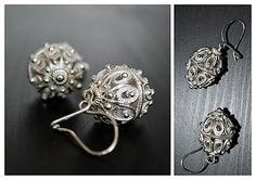 Macedonian Silver Filigree earrings $72 Filigree Jewelry, Filigree Earrings, Oxidised Jewellery, Hand Jewelry, Body Jewellery, Silver Filigree, Metal Jewelry, Jewelry Box, Jewelry Accessories