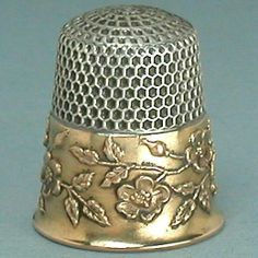 Vintage Sterling Silver with Wild Roses Gold Band Thimble (Antique Circa 1900 Ketcham & McDougall Thimble)