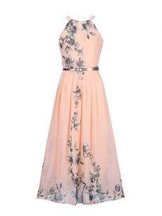 Flowy Floral Printed Chiffon Crew Neck Maxi Dress