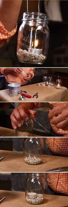 Diy Mason Jar Lantern | | 26 DIY Mason Jar Crafts You Can Make In Under an Hour at http://diyready/com/mason-jar-crafts-in-under-an-hour