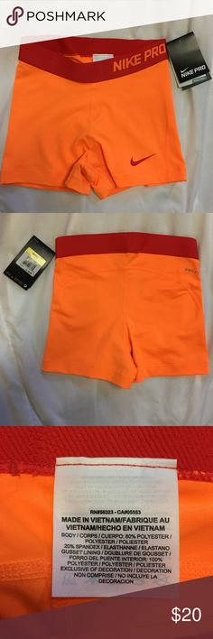NEW Nike Pro Dri-Fit Spandex Brand: Nike ; Color: Neon Orange ; Size: Small; Made: 80% Polyester 20% Spandex; DRI FIT.   ⭐️⭐️⭐️ ACCPET REASONABLE OFFER ⭐️⭐️⭐️ Nike Shorts