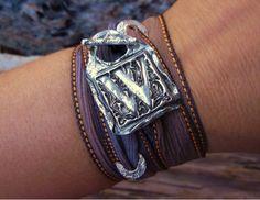 Custom Jewelry, Custom Silver Bracelet, Fine Silver Monogram Jewelry, Winter Fashion Jewelry, Any Color Silk Ribbon, Any Letter