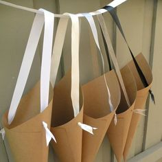 Simple Kraft Paper Wedding Cones with Custom Ribbon Choices for Aisle Decor, Chairs, Church Pew Cones or Flower Girl Petal Basket. Church Pew Decorations, Wedding Flower Decorations, Ceremony Decorations, Flowers Decoration, Wedding Flowers, Basket Decoration, Kraft Paper Wedding, Flower Shop Design, How To Wrap Flowers