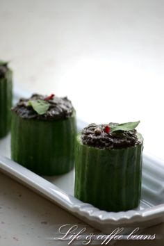Cucumber and anchovy canapes English Food, Canapes, Coffee Beans, Cucumber, Spoon, Eye Candy, Appetizers, Pudding, Foods