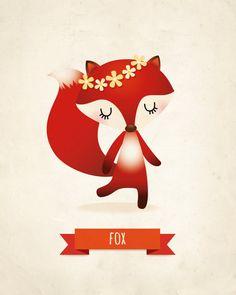 Fox vivero lámina decoración infantil por IreneGoughPrints en Etsy