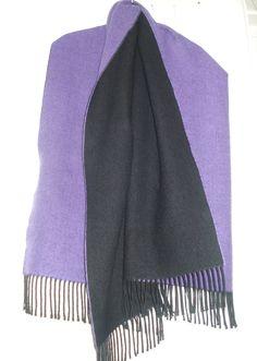 Paars / zwarte wollen sjaal