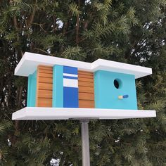 Excited to share this item from my shop: Palm Canyon Birdhouse - Blue/Green - Midcentury/Modern Style Design Architecture Bird House - Made in Vermont USA by Pleasant Ranch Outdoor Paint, Outdoor Decor, Modern Architectural Styles, Modern Birdhouses, Birdhouse Designs, Birdhouse Ideas, Bird Boxes, House Made, Midcentury Modern