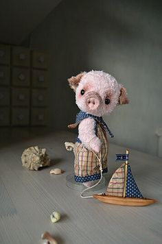 Teddy Bear stile Artist viscose vintage OOAK pig by SanaTeddyBears