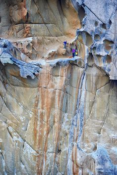 "Route Delicatessen (5.13d), Corsica, Italy | Rock & Dice: ""The route Delicatessen (5.13d), on the island of Corsica, must be one of the world's coolest rock climbs. This image, by Stefan Schlumpf, wasn't published in July's Amazing Route section because the leader is standing around. Still, I find the rock unimaginably sculpted and the ledge inviting. This photo makes me want to go try it."""