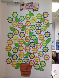 High Frequency Words on Flowers classroom display photo. great inspiration for literacy classroom displays. Year 1 Classroom, Preschool Learning, Kindergarten Classroom, Eyfs Classroom, Reading Garden Classroom, Classroom Word Wall, Classroom Charts, Class Displays, Photo Displays