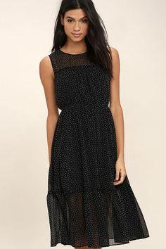 Afternoon Stroll Black Polka Dot Midi Dress 2
