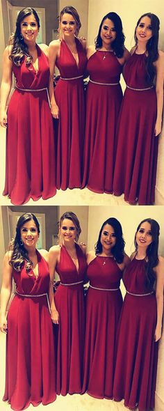 Mixed Style Long Chiffon Bridesmaid Dresses For Wedding Party