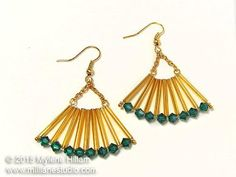 Art Deco inspired, fan-shaped earrings featuring long gold bugle beads edged with Emerald Swarovski crystals. Designed by Myléne Hillam www.milllanestudio.com