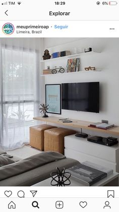 Interior Living Room Design Trends for 2019 - Interior Design Narrow Living Room, Tiny Living Rooms, Living Room Tv Unit, Small Space Living, Living Room Modern, Home And Living, Living Room Designs, Living Room Decor, Condo Decorating