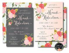 Printable invitations - floral chalk invitation - bridal shower invitations - calligraphy - flower invitation  - freshmint paperie on Etsy, $19.50